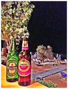 First beers in Crete - on the beach - under the stars at Thanasis Taverna.