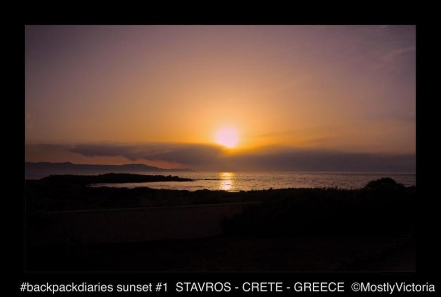 Our first (of many) sunsets Zorbas Hotel - Stavros - Crete