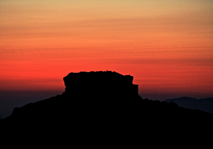Skaros Rock at Sunset