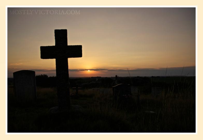 Happisburgh Norfolk England Crucifix Graveyard Sunset © MostlyVictoria